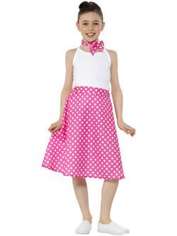 Pink-Fehér Pöttyös 1950-es Évekbeli Gyerek Szoknya Kendővel