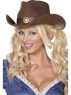 Barna Cowboy Kalap Arany Csillag Mintával
