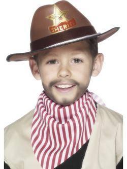 Barna Cowboy Kalap Seriff Jelvény Mintával