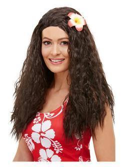 Barna Hawaii Női Paróka Virág Dísszel
