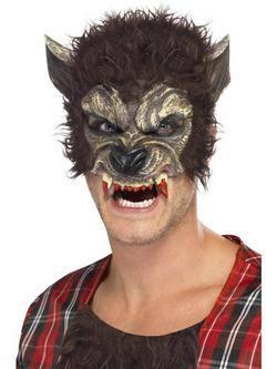 Barna Szőrös Farkasember Maszk Fogakkal