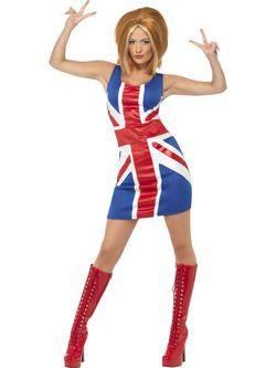Brit Zászlós 1990-es Ikon Spice Girls Ginger Spice Női Jelmez
