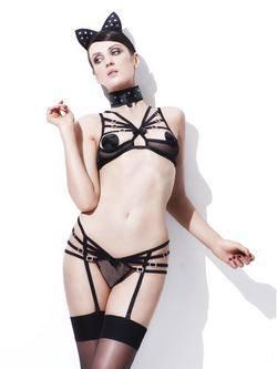 Cica Fekete Fehérnemű Szett
