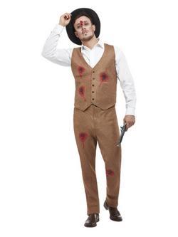Clyde Zombi Gengszter Férfi Jelmez Halloweenre