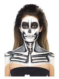 Csontváz Latex Folyadék Szett 2 Arc- és Testfestékkel és Szivacsokkal