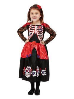 Díszes Mexikói Halottak Napja Totyogó Kislány Jelmez Halloweenre
