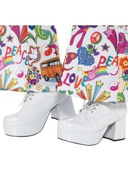Fehér 70-es Évekbeli Platform Cipő Férfiaknak - 42,5-es