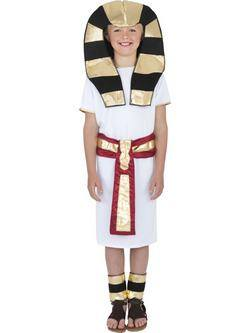 Fehér-Arany-Fekete Egyiptomi Fáraó Kisfiú Jelmez