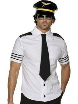 Fehér-Fekete Pilóta Férfi Jelmez