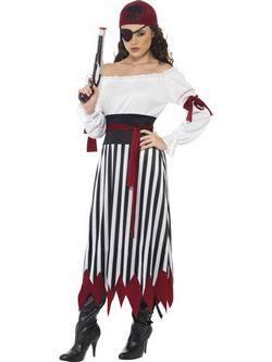 Fehér-Fekete-Piros Kalóz Női Jelmez
