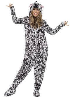 Fehér-Fekete Zebra Felnőtt Jelmez