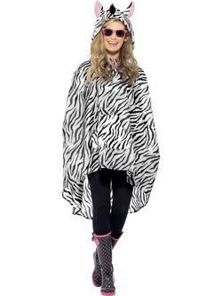 Fehér-Fekete Zebra Felnőtt Poncsó