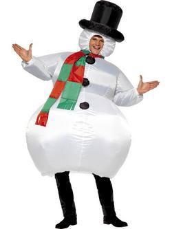 Fehér Felfújható Hóember Férfi Jelmez