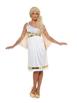 Fehér Görög Istennő Jelmez Nőknek Ruhával és Fejpánttal
