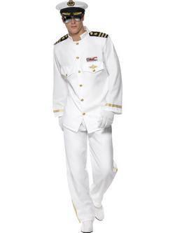 Fehér Hajóskapitány Férfi Jelmez Címerrel