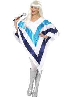 Fehér-Kék ABBA Super Trouper Női Poncsó