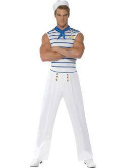 Fehér-Kék Matróz Férfi Jelmez