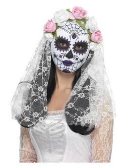 Fehér Mexikói Halottak Napja Menyasszony Maszk Rózsákkal és Fátyollal