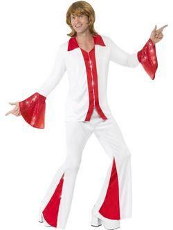 Fehér-Piros ABBA Super Trouper Férfi Jelmez