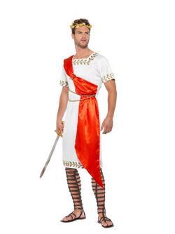 Fehér-Piros Római Szenátor Jelmez Férfiaknak Tógával és Övvel