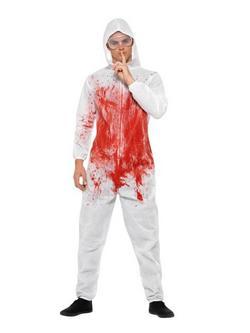 Fehér-Piros Véres Helyszínelő Overál Férfi Jelmez Védőszemüveggel