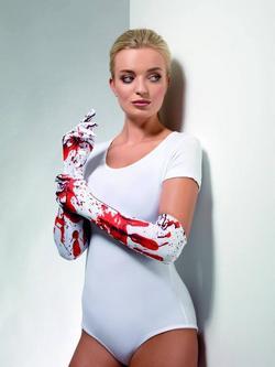 Fehér-Piros Vérfoltos Kesztyű Nőknek