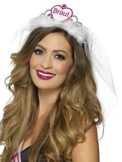 Fehér-Rózsaszín Menyasszony Feliratú Német Nyelvű Tiara Lánybúcsúra