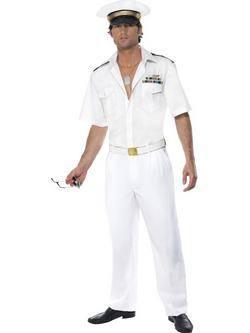Fehér Top Gun Kapitány Férfi Jelmez