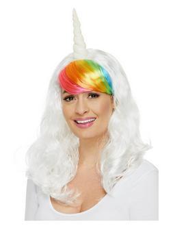 Fehér Unikornis Paróka Szivárványszínű Frufruval