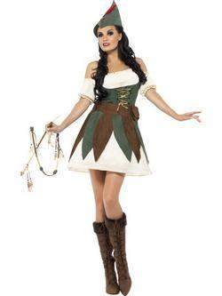 Fehér-Zöld-Barna Robin Hood Női Jelmez