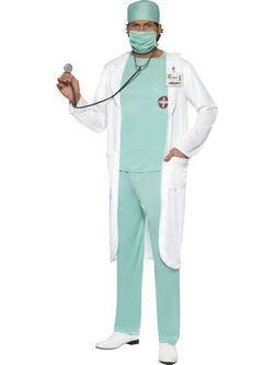 Fehér-Zöld Orvos Férfi Jelmez