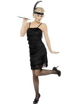 Fekete 1920-as Évekbeli Rojtos Flapper Női Jelmez