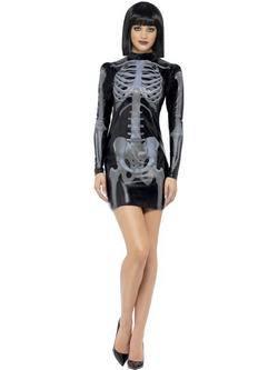 Fekete 3D Csontváz Női Jelmez