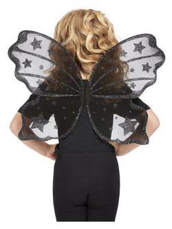 Fekete Csillámos Pillangó Szárnyak - 42 cm