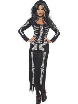 Fekete Csontváz Női Jelmez
