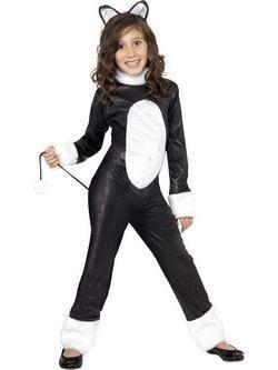 Fekete-Fehér Cica Kislány Jelmez