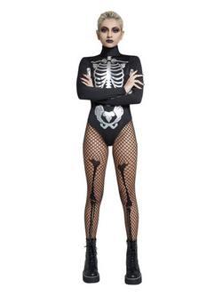 Fekete-Fehér Csontváz Női Jelmez Halloweenre