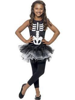 Fekete-Fehér Csontváz Tütü Kislány Jelmez