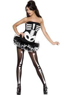 Fekete-Fehér Csontváz Tütü Női Jelmez