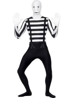 Fekete-Fehér Pantomim Testhez Álló Férfi Jelmez