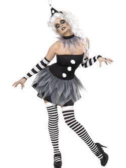 Fekete-Fehér Pierrot A Bohóc Női Jelmez