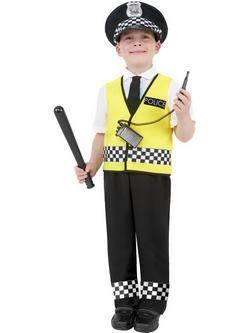 Fekete-Fehér-Sárga Rendőr Kisfiú Jelmez