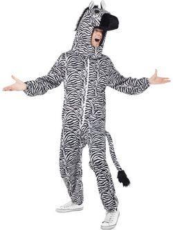 Fekete-Fehér Zebra Felnőtt Jelmez