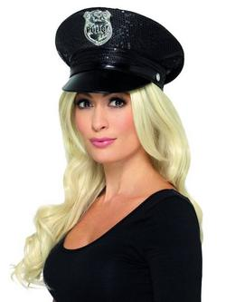 Fekete Flitteres Rendőr Sapka Nőknek
