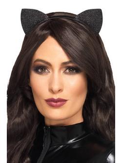 Fekete Glitteres Cicafülek Hajpánton Nőknek