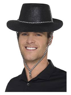 Fekete Glitteres Cowboy Kalap