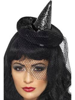 Fekete Glitteres Mini Boszorkány Kalap Fejpánton