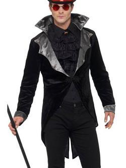 Fekete Gótikus Vámpír Kabát Férfiaknak Álló Gallérral