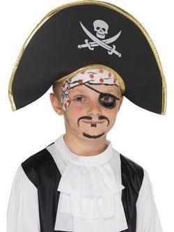 Fekete Kalóz Kapitány Kalap Halálfej Mintával