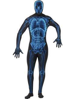 Fekete-Kék Röntgenkép Testhez Álló Felnőtt Jelmez